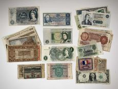 GB and World Banknotes including English and Scottish notes face value £23.50 which include