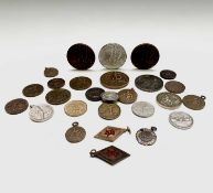 Sports Prize Medals - Approx. 25 bronze and white metal medals/medallions, many military related.