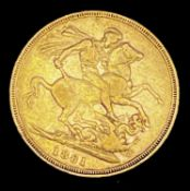 Great Britain Gold Sovereign 1881 George & Dragon Additional Information: Melbourne mint mark is