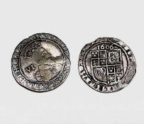 James I, Sixpences x 2. 1603 F, slight crease, m.m Thistle; 1606 F, m.m Rose, slightly trimmed.