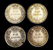 Great Britain Silver 6d Queen Victoria - Select examples 1872 - 79. 1872 (Die 4) NVF, 1874 (Die