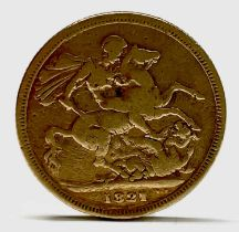 Great Britain Gold Sovereign 1821 George IV - worn but legible Condition: please request a condition
