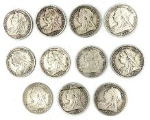 GB Halfcrowns - Victoria Veiled Head. 11 coins all in worn to fine condition. Condition: please