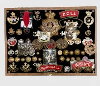 Cornwall Regiments: Duke of Cornwall Light Infantry, etc. Comprising a board mounted framed and