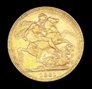 Great Britain Gold Sovereign 1881 George & Dragon Additional Information: Sydney mint mark is
