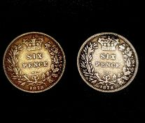 Great Britain Silver 6d Queen Victoria - Select examples 1878. 1878 normal (Die 5) and 1878 (Die