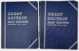 G.B. Halfcrowns 1911 - 1967. 2 Whitmans Folders - one 1911-1940 missing 1911, the other 1941-1967