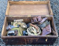 """Military Trunk and contents. A Military Trunk (35"""" x 18"""" x 12"""") formerly the property of R. Whittock"""