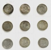 Great Britain King George V Halfcrowns 1911-1919 (pre 1920 silver) - Select examples (x9)