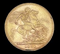 Great Britain Gold Sovereign 1891 EF Jubilee Head Condition: please request a condition report if