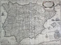 after HESSEL GERARDO. 'Typus Hispaniae.' Spain and Porugal, engraved map, glazed and framed, 1631,