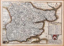RICHARD BLOME. 'A Mapp of Wiltshire with its Hundreds.' Hand coloured engraved map, centre fold