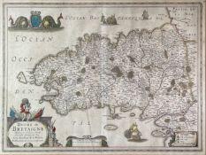 JOANNES JANSSON. 'Duche de Bretaigne.' Hand coloured, engraved map with cartouche sea monsters, some