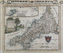 ALEXANDER HOGG. 'The New British Traveller.' Hand coloured map of Cornwall, framed and glazed, 1784,