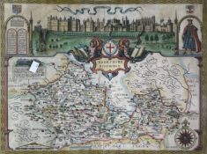 JOHN SPEED. 'Barkshire Described.' Hand coloured engraved map, panorama of Windsor Castle, double