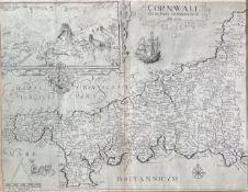 CHRISTOPHER SAXTON and WILLIAM KIP. 'Cornwall olim pars Danmoniorum.' Engraved map, inset view of