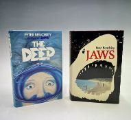 PETER BENCHLEY. 'Jaws.' First edition, unclipped dj, Book Club Associates, 1974; 'The Deep,' First