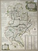 EMMANUAL BOWEN (1694-1767). 'An Accurate Map of Bedford divided into its Hundreds....' Hand