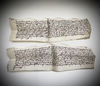 ENYS-GALPIN Two rare Elizabethan Indentures dated 1588. Condition: please request a condition report