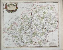 ROBERT MORDEN. 'Hertfordshire.' Partially hand coloured, engraved map, folds, good to very good,