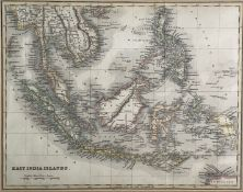 MAPS. 19th Century map of the 'East India Islands, hand coloured, framed and engraved, approx 19.5cm