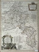 THOMAS KITCHIN. 'A New and Improved Map of Oxfordshire.....' Hand coloured, copper engraved, J. & C.