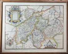 Christopher Saxton. A good quality facsimile of Northampton by the 'British Museum'. Framed and