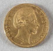 Goldmünze, 20 Mark, dt. Kaiserreich (Bayern), 1872 D, Ludwig II.