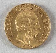 Goldmünze, 20 Mark, dt. Kaiserreich (Sachsen), 1894 E, Albert