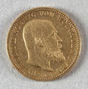 Goldmünze, 10 Mark, dt. Kaiserreich (Württemberg), 1893 F, Wilhelm II.