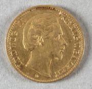Goldmünze, 10 Mark, dt. Kaiserreich (Bayern), 1875 D, Ludwig II.