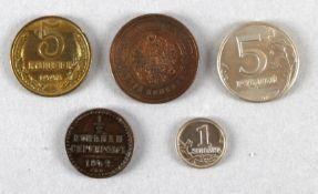 5 Münzen Rußland, 1842-2004