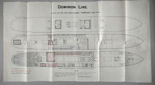 Decksplan 'Dominion' der 'Dominion Line' (ehemals 'Prussia', Hapag), Liverpool 1898