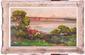 20th century school, a river landscape in summer, oil on canvas, indistinctly signed, 53 cm x 94