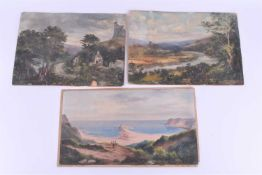 Two 19th century oil paintings depicting Irish castles 'Ruig Rowe' & 'Carrignacurra', unsigned,