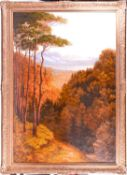 A large 19th century landscape, an autumnal forest with a lake and mountains to the background,
