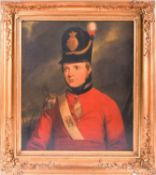 A 19th century portrait of a military officer in uniform, unsigned oil on canvas in gilt frame, 70