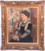 Auguste Theodore Desch (1877-1924) French, a half-length portrait of a finely dressed seated lady, a
