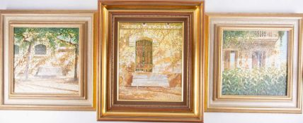 Chris Wild (b.1945) British, three oils on canvas, 'White Bench with Window, Mallorca, Spain', 31 cm