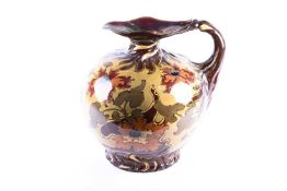 A large Ernst Wahliss art nouveau jug, the shaped rim with lustrous glaze above a globular body