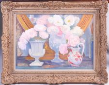 20th century school, a still life study of flowers, oil on board, unsigned, 44.5 x 64 cm in a wooden