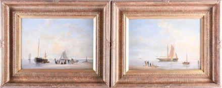 A pair of 19th century nautical paintings, unsigned oils on canvas, each depicting figures on the