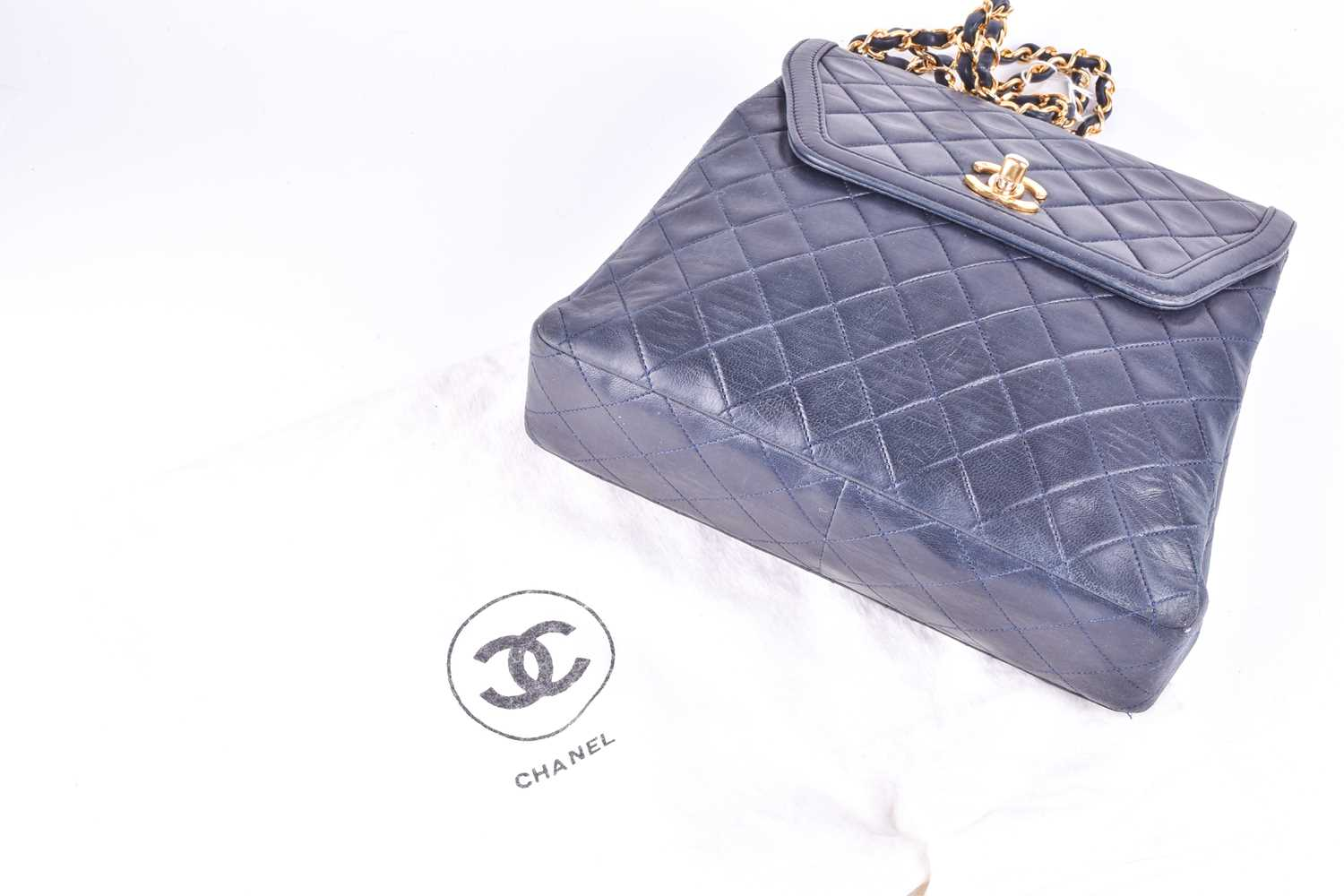 Chanel. A classic quilted leather handbag, of tapered square design, with gold tone CC logo clasp, - Image 10 of 26
