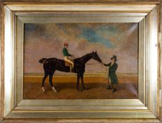 "After John Frederick Herring Sr (1795-1865): ""Race horse"", oil on canvas, 60cm x 39.5cm high"