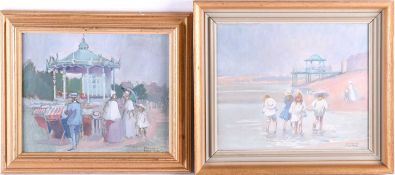 Margaret Palmer (20th century), a group of children paddling, a beach to the background, oil on