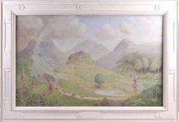 Margaret Ovey (20th century), a large landscape study, a group of children dancing in mountainous