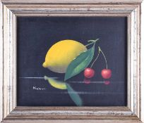 A contemporary still life painting of a lemon and cherries, indistinctly signed oil on canvas, 20 cm
