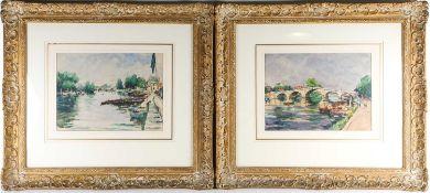 René Aubert (1894-1977), a pair of river landscapes, watercolours, 27.5 cm x 37.5 cm in wooden