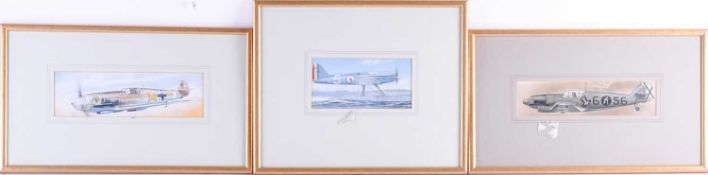Three watercolours of vintage WWII period fighter planes, the largest 8.5 cm x 16.5 cm, unsigned,