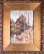 Val Davis, 20th century, Silver Birch by a river and cottage, signed, oil on panel, 36cm x 26.
